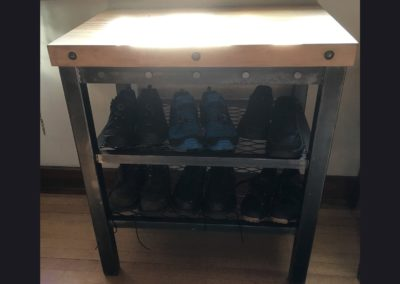 Shoe Rack w/ Butcher Block Top
