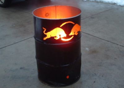 Red Bull Burning 55 gal drum for event