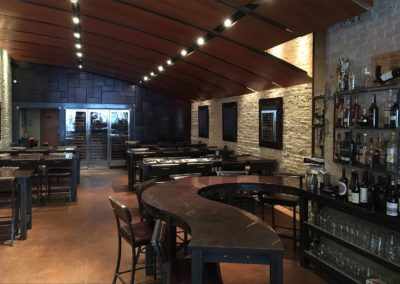 Indulge  - Bar, tables, Stools,  Mirrors, Ceiling, Leather Wall