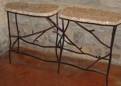 "Steel Steel ""Twig"" Table with Granite Top  - 60 in wide""Twig"" Table with Granite Top  - 28 in wide"