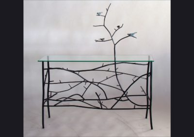 "Steel ""Twig"" Table with Rory Burke Birds  - 42 in wide"