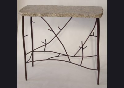 "Steel ""Twig"" Table with Granite Top  - 30 in wide"